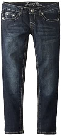 Request Big Girls' Straight Leg Jeans with Embellished Back Pocket, Genius Wash, 7