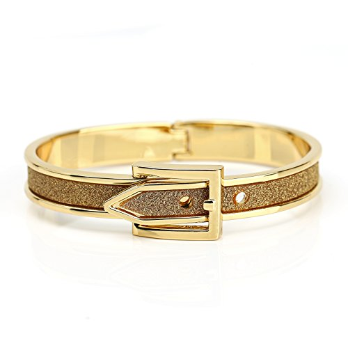 United Elegance - Sparkling Gold Tone Hinged Bangle Bracelet with Buckle Clasp and Shimmering Inlay (Diamond Buckle Bangle)