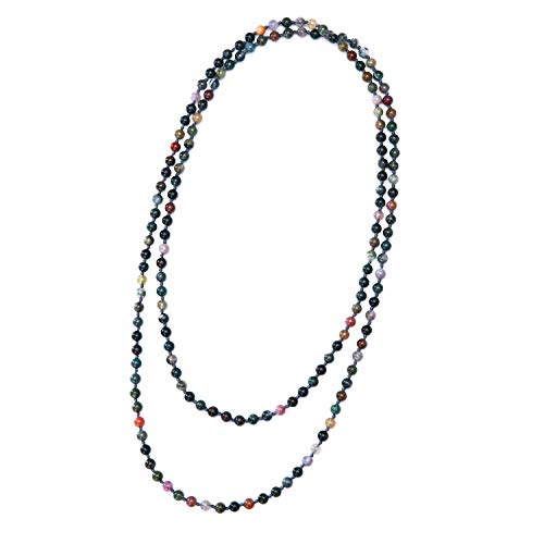 Gemstone Handmade Indian Jewelry - Long Indian Agate Beaded Necklace Handmade Endless Jewelry for Women Girls Knotted Strand Fashion Wrap Necklace in Christmas Gift for Her