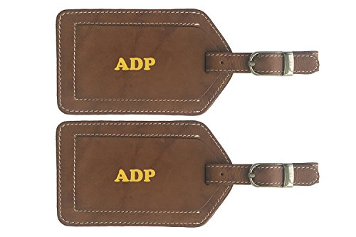 Antique Leather Suitcases - Personalized Monogrammed Antique Saddle Leather Luggage Tags - 2 Pack