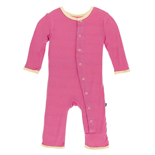 Kickee Pants Baby Girls' Fitted Applique Coverall in Flamingo Emu, 6-9M - Kickee Pants Coveralls