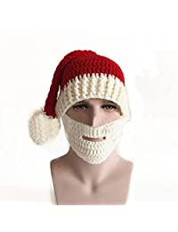YANXH Unisex Christmas Hat Wool Pure Hand Knit Beard Hat Christmas and Halloween Party Gift Cap