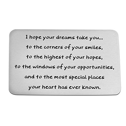 FUSTMW Graduation Gifts Wallet Insert Engraved Card Inspirational Graduates Gifts Class of 2019 Gift Wallet Card Insert (Silver)
