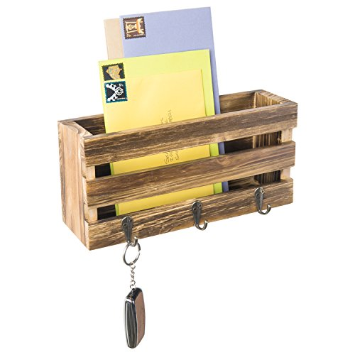 (MyGift Rustic Crate-Style Wall Mounted Mail Sorter with 3 Key Ring Hooks)