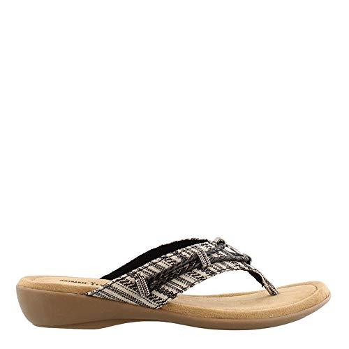 Minnetonka Women's, Silverthorne Thong Sandal Black White 7 - Western Footwear Leather