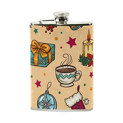 Happy Xmas Christmas Leather Stainless Steel Alcohol Wine Pot Flagon Hip Flask Portable Pocket Bottle - 8 oz