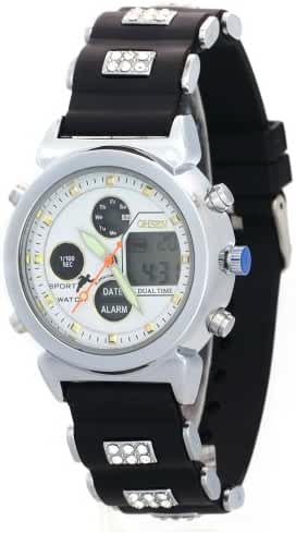 Ohsen Unisex Fashion Crystal Strap Week Day Date Month Alarm Dual Time Stopwatch Sport Watches