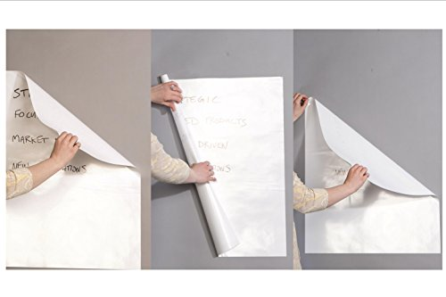 Wizard Wall Self Adhesive Dry Erase Sheets, Patented Static Adhesive Technology, Reusable and Self Cutting Sheets, 27.5'' x 25' Roll, White, 6-Pack by Wizard Wall (Image #3)