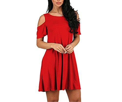 CYimejo Elegant Women Loose Short Sleeve Office Girlsred S ()