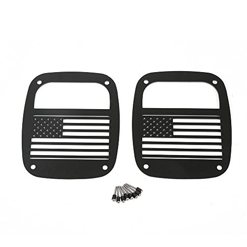 Matte Black Rear Tailight (Tail Light) Protector Cover Guards USA Flag for Jeep Wrangler TJ 1997-2006