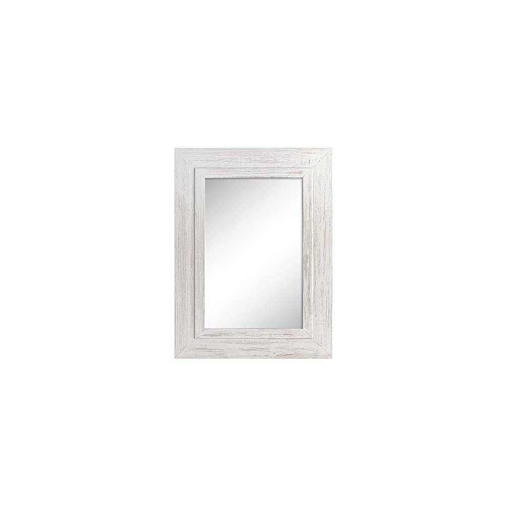 """Barnyard Designs 24"""" x 32"""" Decorative Whitewashed Wood Frame Wall Mirror, Large Rustic Farmhouse Mirror Decor, Vertical or Horizontal Hanging, for Bathroom Vanity, Living Room or Bedroom, White"""