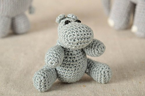 Handmade Unique Hippo Figurine Designer Crochet Stuffed Toy Present For Kids