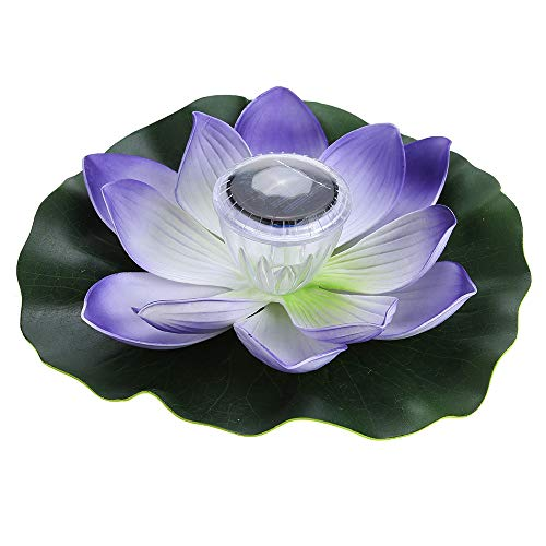 (Lixada 0.1W Solar Powered Multi-Colored LED Lotus Flower Lamp RGB Water Resistant Outdoor Floating Pond Night Light Auto On/Off for Garden Pool Party Ideal Gift (Purple))