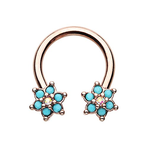 Rose Gold Blue Spring Flower Sparkle Horseshoe Circular Ring (Sold Individually) (16G, Length: 3/8