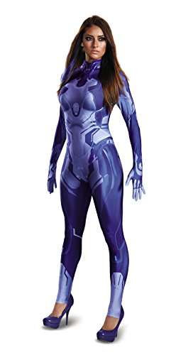 Disguise Women's HALO Cortana Adult Bodysuit Costume, Blue, Medium