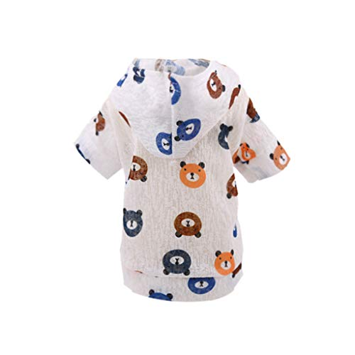 COOlCCI_Pet Clothes, Puppy Hoodie Sweater Dog Coat Warm Sweatshirt Printed Shirt Warm Sweater Dog Outfits White ()