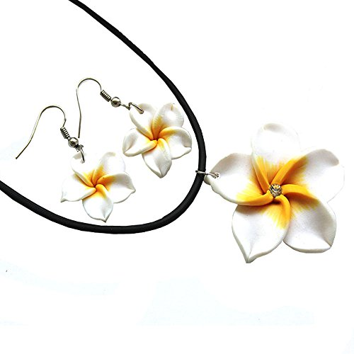 Plumeria Pick - Donau Plumeria Fimo Flower Earring Pendant Necklace Jewelry Set 6Colors