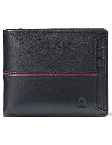 Leather Architect Men's 100% Leather RFID Blocking Bifold Wallet with Removable Card Holder Navy Cognac