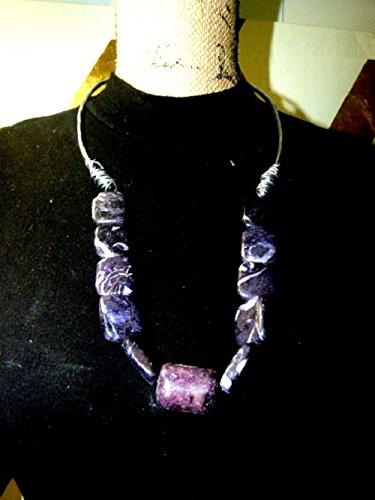 (lavender zebra stone , chunky neckalce , hypoallergenic wire wrapped)