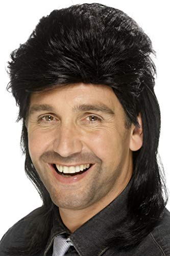 Smiffys Men's Black Mullet Wig, One Size, -