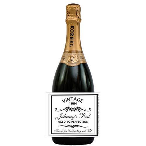 (Birthday Wine Bottle Labels, Vintage Theme, Champagne, Beer (set of)