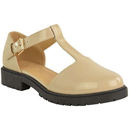 Ladies Womens Girls School Shoes Cut Out Chunky Dolly Geek Work Pumps Size Nude Patent
