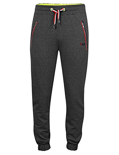 Leadingstar Men's Long Sports Running Trousers Drawstring Elastic Waistband Jersey Lounge Pants Black M
