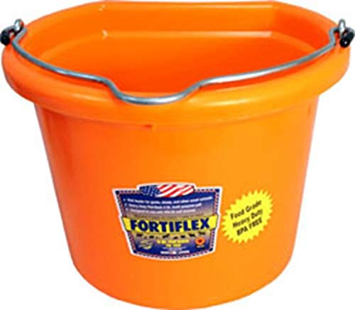 Fortiflex Flat Back Feed Bucket for Dogs/Cats and Small Animals, 8-Quart, Tangerine Orange
