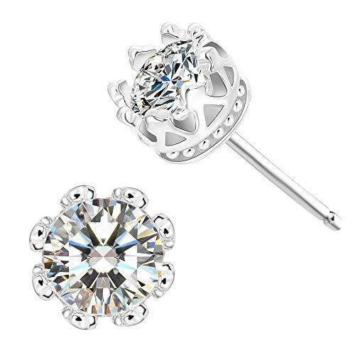 (CZ Stud Earrings For Women - 18k White Gold Plated Crown Cubic Zirconia Earrings)