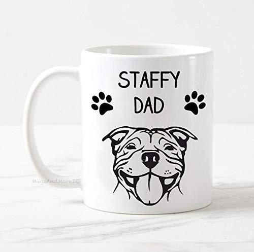 Staffy dad mug, dog mug, staffordshire bull terrier mug gift, dog owner gift, gift for him, best dog dad, funny dog mug, staffy dog mug
