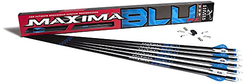 Carbon Express Maxima BLU RZ Fletched Carbon Arrows with RED Zone Technology and Blazer Vanes, 250 Spine, 6-Pack - Maxima Hunter 250 Shaft