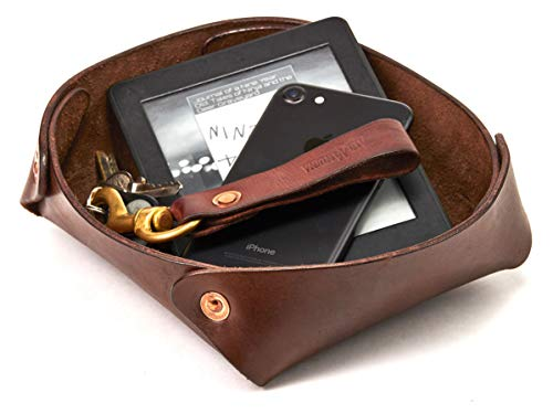 Alta Andina Large Leather Valet Tray/Catchall | Full Grain, Vegetable Tanned Leather (Brown - Café)