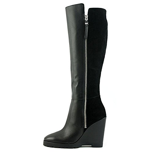 Michael Michael Kors Women's Clara Wedge Boot Black Smooth Calf/Kid Suede Boot 10 M (Michael Kors Boots For Big Kids)