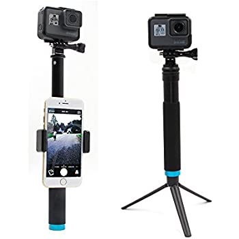 TELESIN Aluminum Alloy Extendable Handheld Monopod Tripod Pole Selfie Stick with Tripod Mount Stand for GoPro Hero 5 4 3 2 1, Session, Cellphone and Compact Action Camera