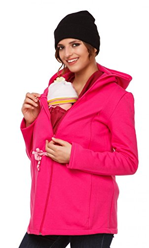 Happy Mama. Para mujer sudadera capucha de lactancia inserción extraíble. 039p Fucsia