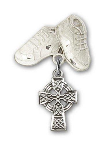 Icecarats Créatrice De Bijoux En Argent Sterling Bébé Bottes De Charme Croix Celtiques Broche 1 1/8 X 5/8