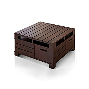 Crete Vintage Dark Brown Coffee Table With Four Hidden Storage Compartments  U0026 Slide In Shelves, Slim Design Square Accent Table, Rustic Living Room ...