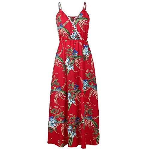 HYIRI Sling Height Long Skirt,Women's Camisole Ladies Chiffon Printed V-Neck Lace Dress (Sheer Chiffon Peignoir)