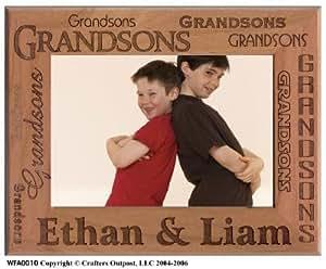 Grandsons Personalized Alder Wood Photo Frame