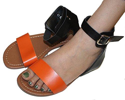 Sandali Gladiatore Donna Estate Appartamenti Fashionthongs T Cinturini Scarpe Da Donna Arancione