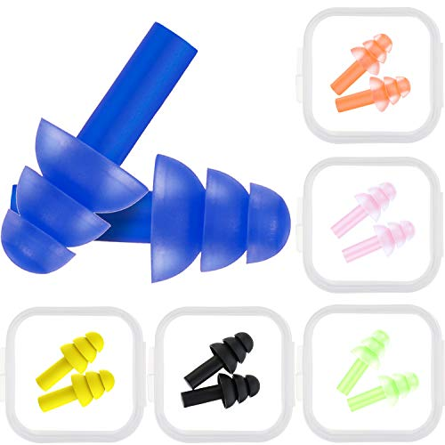 Bememo 6 Pairs Ear Plugs Noise Cancelling Reusable Earplugs for Sleeping and Swimming, 6 Assorted Colors