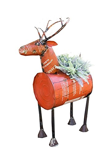 Barrel Wine Cooler (Kalalou Red Reclaimed Metal Barrel Deer Planter or Wine Cooler)