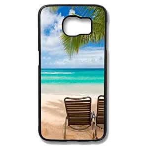 Samsung Galaxy S6 Case - Maui Beach Hawaii Palm Tree Protective Case Soft Flexible TPU Skin Scratch-Proof Case for Samsung Galaxy S6 Black