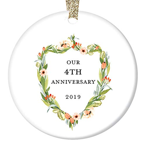 - 4th Wedding Anniversary 2019 Christmas Ornament Ceramic Keepsake Present Fourth Holiday Husband & Wife 4 Years Together Married Couple Anniversaries 3