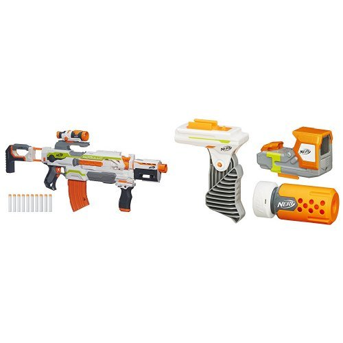 It is completely modular, so you can build your own working Nerf gun design  from the different parts that come in the kit. Can fire the foam darts up  to 90 ...