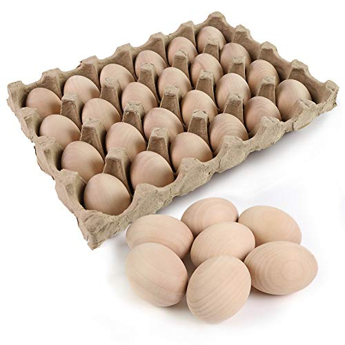 solid wooden eggs