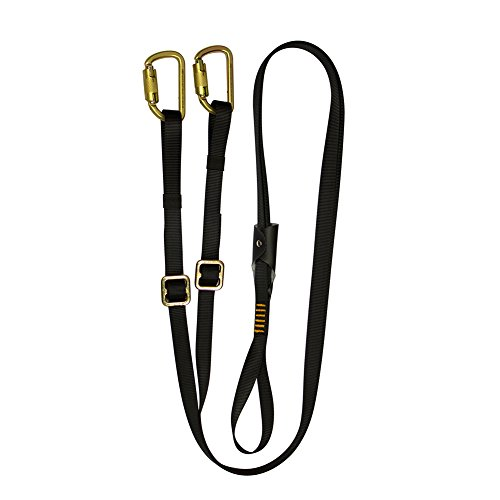 Fusion Climb 6ft 72''x1'' Y-Legged Adjustable Fall Safety Zipline Lanyard with High Strength Steel Carabiners 23kN Black by Fusion Climb