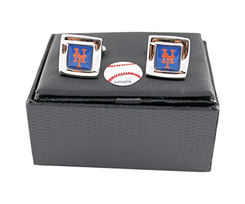 aminco MLB NY New York Mets Square Cufflinks with Square Shape Logo Design Gift Box Set