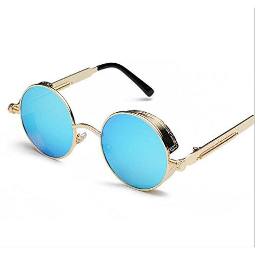 メール港反映するレトロヴィンテージラウンドフリップサングラスSteampunkサングラス男性と女性のための人格反射サングラスメガネ