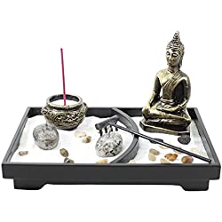 Tabletop Incense Burner Gifts & Decor Zen Garden Kit with Statue Candle Holder ~ USA SELLER!! (Buddha big)